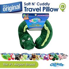 Cloudz Plush Animal Pillows - Alligator:   Your child's next best friend! Our Clöudz® Plush Alligator neck pillow is super soft, cuddly, cute, fun and functional! Great for fun at home or on the go! Kids love the snuggly support and companionship our pillows offer for trips in the car, on a plane, train, or bus. Filled with soft and supportive, premium polyester fiber. You'll see why our plush friends are a favorite of kids and moms everywhere - collect them all! Our pillow can be mach...