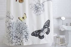 Bathroom Bathtubs and Courtains | HOME Shower Curtain Modern Shower Curtain with Black and White ...