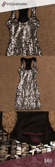 Material Girl Racer Back Sequin Dress This dress is so much fun! Worn once! Has been in my closet ever since, the sequins are still all in tack and there's no damage to this dress at all! Material Girl Dresses Mini