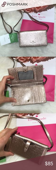 Kate Spade ♠️ rose gold leather phone case wallet Stunning rose gold leather phone folio, wallet and Crossbody in one! Perfect for the necessities and ideal for a trip! Fits standard phone, will not fit a plus size phone. No lowballing pls new with tags specialty item kate spade Bags Crossbody Bags
