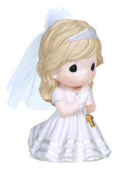 """Precious Moments Remembrance Of My First Holy Communion Girl Figurine As they prepare to receive the holy bread and wine for the very first time, these First Communicants pray that Jesus may enter and stay in their hearts. Accented with golden crosses, they are a reverent way to mark this most spiritual day. Porcelain/Fabric. 4"""" H. 133024"""