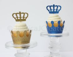 This listing is for 12 cupcake toppers. You can choose from gold glitter, blue glitter or double layered glitter (blue & gold) as pictured above. Prince Party Theme, Prince Birthday Theme, Baby Birthday, Gold Cupcakes, Themed Cupcakes, Birthday Cupcakes, Fondant Cupcakes, Crown Cupcake Toppers, Cupcake Wrappers