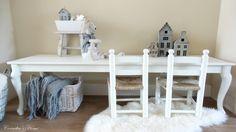 Landelijke Queen Anne kindertafel wit met whitewash blad