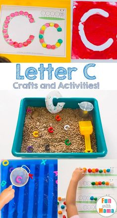 These free printable letter c crafts and activities are perfect for your toddler or preschooler letter of the week homeschool curriculum. Letter C Preschool, Letter C Activities, Alphabet Letter Crafts, Toddler Learning Activities, Preschool Activities, Abc Crafts, Kindergarten Phonics, Alphabet Games, Daycare Crafts
