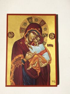 Our Lady Theotokos - Mother Of God - handmade orthodox byzantine icon Byzantine Icons, Jesus Loves Me, Our Lady, Jesus Christ, Christian, Etsy Shop, Baseball Cards, Handmade Gifts, Artwork