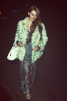 Looking lovely in her elegant shimmering gown and thick fur coat<3