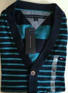 NWT Tommy Hilfiger Men's XXLarge Long Sleeve Striped Cardigan Navy 100% Cotton #TommyHilfiger #Cardigan