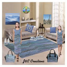 """Blue Symmetry"" by jnccreations ❤ liked on Polyvore featuring interior, interiors, interior design, home, home decor and interior decorating"