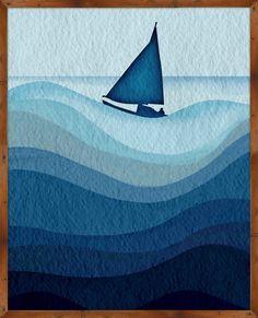 Coastal Cyanotype Waves I Framed Graphic Art