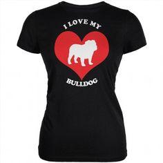 16.95$  Watch here - http://viqup.justgood.pw/vig/item.php?t=nu68kr58677 - Valentines I Love My Bulldog Black Juniors Soft T-Shirt