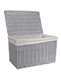 Large Grey Willow Wicker Laundry Basket with Lid