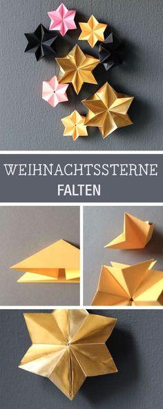 Basteln für Weihnachten: Sterne zum Aufhängen falten / crafting idea for christmas: how to fold little christmas stars via DaWanda.com