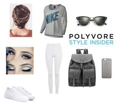 """Untitled #4"" by maida-962 ❤ liked on Polyvore featuring Topshop, NIKE, Ray-Ban and Native Union"