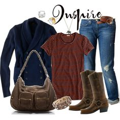 Designer Clothes, Shoes & Bags for Women Country Girl Look, Fall Jeans, Navy Sweaters, Classy And Fabulous, Polyvore Fashion, Fall Outfits, Stripes, Style Inspiration, Shoe Bag