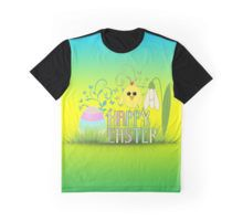 Cute Happy Easter egg, chick and snowdrop Men's Graphic T-Shirt by #PLdesign #Easter #HappyEaster #KawaiiChick #EasterGift