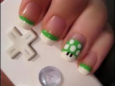 Go vintage video games for an awesome desgin #Manicure #NailArt