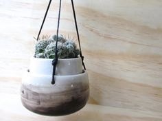 Small Black Wash Hanging Planter. Ombre. by MelissaMayaPottery