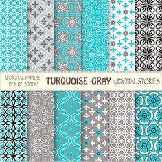 """Tiffany Blue Gray Digital Paper: """"TURQUOISE - GRAY"""" -  Retro Digital Scrapbook Paper Pack for invites, cards, crafts  - Buy 2 Get 1 Free"""