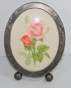 Shabby Chic Pink Roses Picture Silver Patina Frame Bubble Glass Convex
