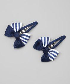 Navy Blue Stripe Clip set//