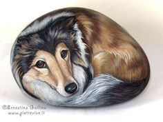 HAND PAINTED ROCK.Dogs portraits on stone. sheltie