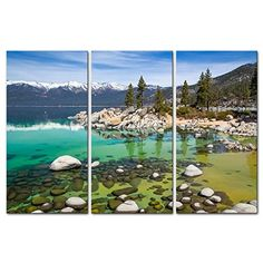Canvas Print Wall Art Painting For Home Decor Sandy Lake Tahoe Beach With Clear for sale online House Painting, Painting Prints, Wall Art Prints, Poster Prints, Posters, Beach Canvas, Canvas Wall Art, Landscape Pictures, Landscape Paintings