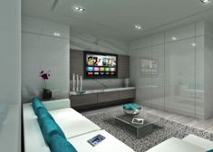 This contemporary media room features a futuristic vibe with its blend of…