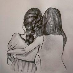 Best Friend Sketches, Friends Sketch, Best Friend Drawings, Sketches Of Love, Bff Drawings, Dark Art Drawings, Art Drawings Sketches, Cute Drawings Of Love, Friendship Sketches