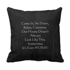 "Retro Apology for Messy House 16"" Square Pillow Black / Grey"