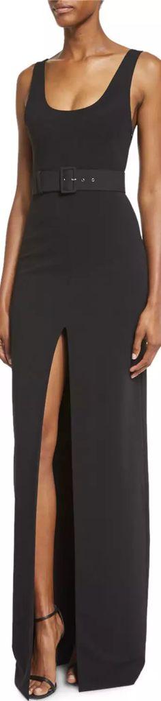 Solace London Tara Belted Stretch Crepe Maxi Dress, Black