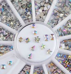 6 Different Shapes Clear AB Acrylic Nail Art Decoration DIY Wheel – Your Charmed Story