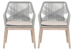 Keep the table sample & use the chairs as the conversation pieces. Loom Gray Rope Arm Chair, Pair