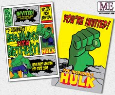 The Incredible Hulk Birthday Invitations - Digital file or printed invitations created by Metro-Event.com Welcome To Metro Events Party Files & Prints! This listing is for a customized PRINTABLE invitation file only. I customize the file for you, send it and you can print as many as you need. ...