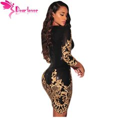 Aliexpress.com : Buy Dear Lover Sequined dresses Party Black Gold/Silver 3/4 Sleeves Bodycon Dress Autumns Night Club Sexy Vestido de Festa LC22794 from Reliable dress grace suppliers on dearlover Official Store