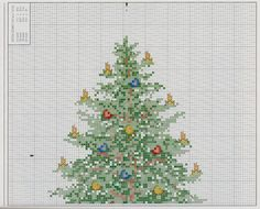 Christmas Tree and Presents 2 of 4 Cross Stitch Tree, Cross Stitch Charts, Cross Stitch Designs, Cross Stitch Patterns, Christmas Tree Tops, Christmas Cross, Christmas Stuff, Cross Stitching, Cross Stitch Embroidery