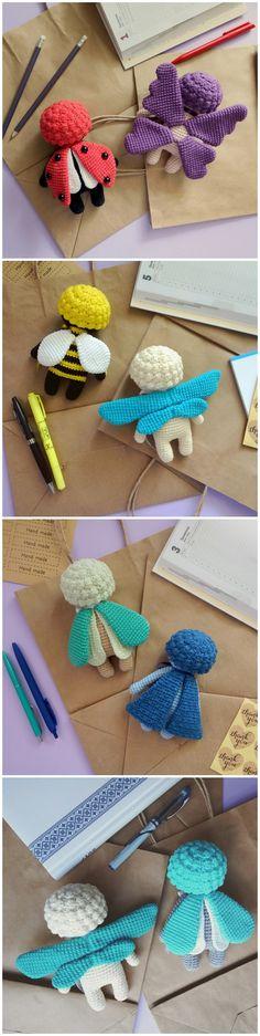 Crochet toys Insect sleepy dolls Ladybird doll Butterfly doll Dragonfly doll Bee doll Moth Doll Grass Bug Doll