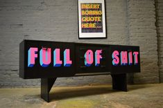 Vintage Mid Century G Plan Sideboard Painted Black and Neon Full Of Shit Neon Furniture, Home Decor Furniture, Furniture Makeover, Home Furnishings, Painted Furniture, Diy Home Decor, G Plan Sideboard, Retro Sideboard, Painted Sideboard