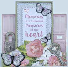 A step card By Kelly-ann Oosterbeek made using the Cottage Rose Collection from Kaisercraft. www.amothersart.com.au Side Step Card, Step Cards, Easel Cards, Rose Cottage, Butterfly Cards, Card Making, Frame, How To Make, Ann