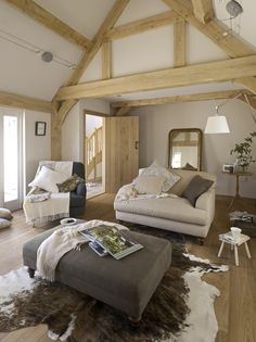 Border Oak - Sitting room with traditional oak framing in a weatherboarded barn design. New Living Room, Home And Living, Living Spaces, Home Design, Interior Design, Barn Conversion Interiors, Border Oak, Oak Framed Buildings, Modern Buildings