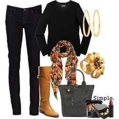 Knee boots with orange and green scarf