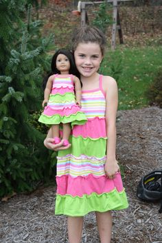 Little Girl Multi Colored Striped Sundress with by weeline on Etsy, $36.00