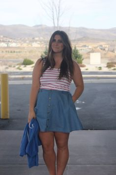 denim skirt and stripes outfit