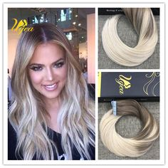 Light Golden Brown to Blonde Balayage Ombre Remy Tape in Human Hair Extensions #Ugea #Balayage