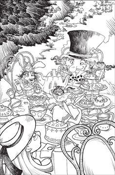 """Illustrazione in bianco e nero per """"Alice nel paese delle meraviglie"""". Un te con il Cappellaio matto e la Lepre marzolina. Black and White illustration for """"Alice in Wonderland"""". Mad Hatter."""