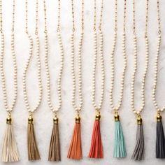 Virtue White Chocolate Bead Long Tassel Demi-Gemstone Necklace