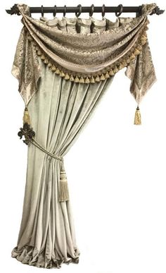 This style of drapery with swag and jabots (shown in the Angelique Collection) looks great most anywhere, but my favorite is when it is used on windows on each side. Swag Curtains, Dining Room Curtains, Living Room Drapes, Luxury Curtains, Home Curtains, Window Curtains, Tuscan Curtains, Curtain Styles, Curtain Designs