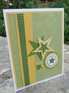 love the greens and yellows on white with white accent circle