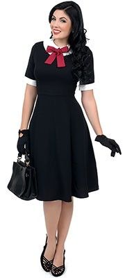 1950s Style Black Short Sleeve Kim Swing Dress