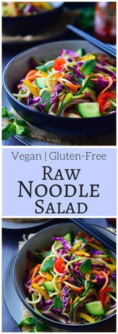 raw vegan noodles salad recipe is super quick and easy to put together and is great served as a main or side dish. All you need is a selection of colourful vegetables, some pantry staples and a spiralizer. Raw Vegan Recipes, Vegan Foods, Vegan Dishes, Vegetarian Recipes, Healthy Recipes, Vegan Raw, Quick Recipes, Salad Recipes, Raw Vegan Dinners