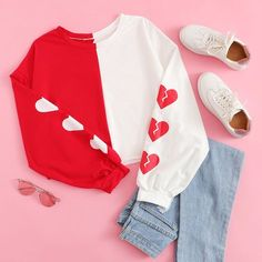 Shop Heart Print Sleeve Colorblock Sweatshirt at ROMWE, discover more fashion styles online. Girls Fashion Clothes, Teen Fashion Outfits, Outfits For Teens, Girl Fashion, Girl Outfits, Travel Outfits, Cute Casual Outfits, Stylish Outfits, Kawaii Clothes